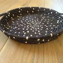 BLACK & WHITE WITH HANDLES HANDMADE SPECKLED TRAY