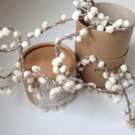 HANDMADE POM POM FAIRY LIGHTS IN PALE CREAM