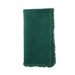 Linen table napkins in emerald green