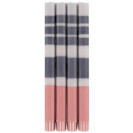THREE STRIPE ECO DINNER CANDLES IN GULL GREY, GUNMETAL GREY AND OLD ROSE (PACK OF 4)