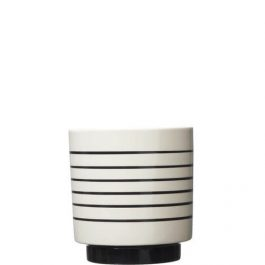 LARGE BLACK & WHITE CERAMIC PLANTER