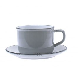 VINTAGE INSPIRED GLAZED STONEWARE CUP AND SAUCER