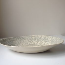 Wonki Ware Large Pebble Oval Serving Bowl in Mixed Patterns Duck Egg