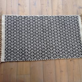 BLACK AND CREAM DIAMOND WEAVE ECO COTTON AND JUTE RUG