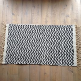 BLACK AND CREAM ZIG ZAG WEAVE ECO COTTON AND JUTE RUG