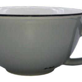 PALE GREY LATTE COFFEE VINTAGE INSPIRED TINWARE CUP