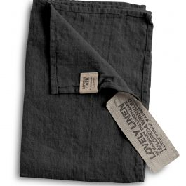 100% EUROPEAN LINEN GUEST HAND TOWEL IN DARK GREY