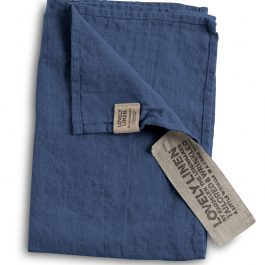 100% EUROPEAN LINEN GUEST HAND TOWEL IN DENIM BLUE
