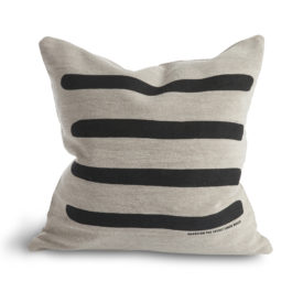 100% COTTON CANVAS CUSHION WITH BOLD STRIPE GRAPHIC PATTERN FROM LOVELY LINEN