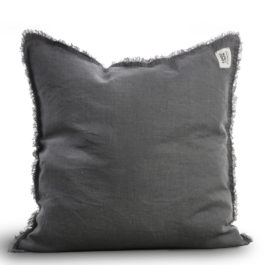 100% LINEN RAW EDGE CUSHION IN DARK GREY