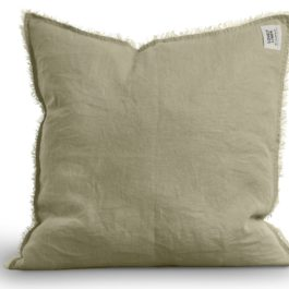 100% LINEN RAW EDGE CUSHION IN SOFT AVOCADO GREEN