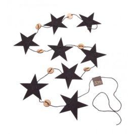 BLACK ECO FELT CHRISTMAS STAR GARLAND