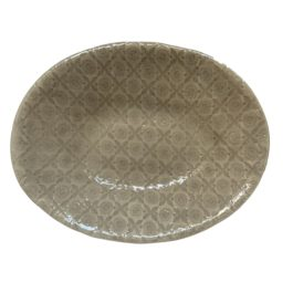 LARGE PEBBLE OVAL SERVING DISH IN WARM GREY