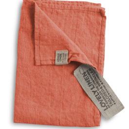 100% EUROPEAN LINEN GUEST TOWEL IN PEACH FROM LOVELY LINEN