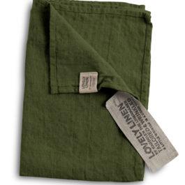 100% EUROPEAN LINEN GUEST TOWEL IN JEEP GREEN FROM LOVELY LINEN