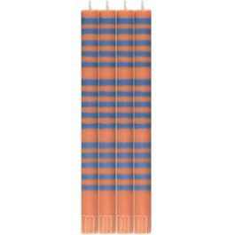 ECO DINNER CANDLES IN ROYAL BLUE & ORANGE FLAME STRIPE FROM BRITISH COLOUR STANDARD