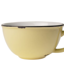 YELLOW CAFE AU LAIT TINWARE CUP