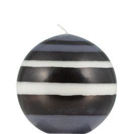 STRIPED BALL CANDLE IN JET BLACK, PEARL WHITE AND DOVE GREY FROM BRITISH COLOUR STANDARD
