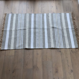 NATURAL AND TAUPE STRIPE ECO RUG