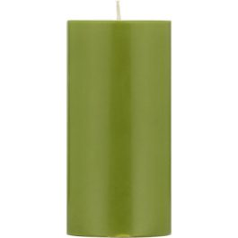 ECO PILLAR CANDLE (15CM) IN OLIVE GREEN FROM BRITISH COLOUR STANDARD
