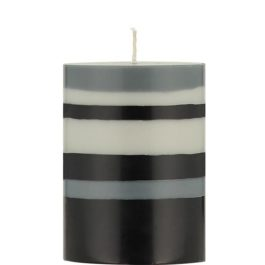 ECO PILLAR CANDLE (10 CM)  IN GULL GREY, GUNMETAL GREY AND JET BLACK STRIPES FROM BRITISH COLOUR STANDARD