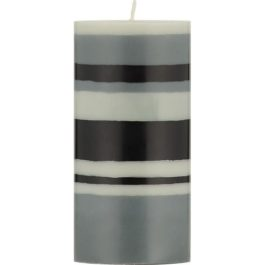 ECO PILLAR CANDLE (15CM) IN GULL GREY, GUNMETAL GREY AND JET BLACK STRIPES FROM BRITISH COLOUR STANDARD