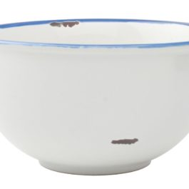 VINTAGE INSPIRED TINWARE BOWL IN WHITE WITH BLUE RIM FROM CANVAS HOMEWARE