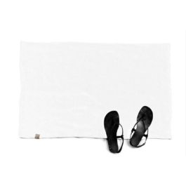 RAW RUSTIC LINEN BATH MAT IN OFF WHITE